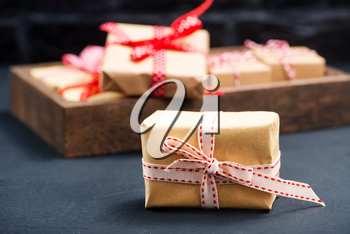 boxes for present on the wooden table