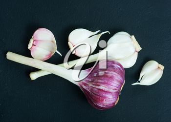 fresh garlic on a table, stock photo