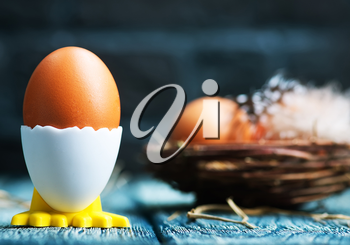 brown easter eggs on a table, easter background