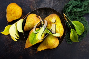 fresh pears on a table, stock photo