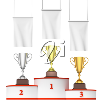 Sports winning, championship and competition success concept - three winners trophy cups on round sports pedestal, white winners podium with red stairs and blank white flags, 3d illustration