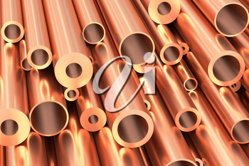 Metallurgical industry production and non-ferrous industrial products abstract illustration - many different various sized stainless metal shiny copper pipes closeup, industrial background, 3D illustration
