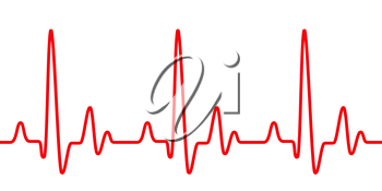 Red heart pulse graphic line on white, healthcare medical sign with heart cardiogram, cardiology concept pulse rate diagram illustration.