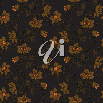 The vector illustration Retro floral seamless background