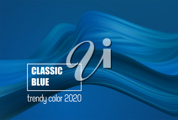 Classic Blue Color. Fashion color. Abstract flow form