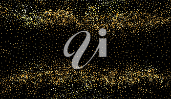 Abstract shiny glitter overlay design element. Gold stardust on dark background. Noise grainy particles. Christmas confetti