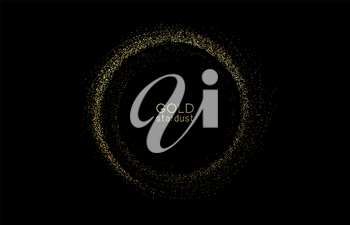 Abstract shiny color gold design element with glitter effect on dark background. Fashion sequins for voucher, website and advertising design