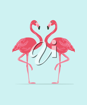 Royalty Free Clipart Image of Two Flamingoes