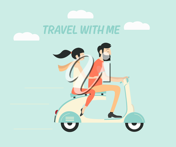 Royalty Free Clipart Image of a Couple on a Scooter