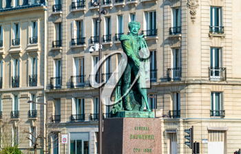 Statue of General Pierre Yrieix Daumesnil in front of the city hall of Vincennes, a town near Paris, France