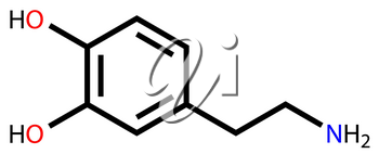 Structural formula of dopamine on a white background
