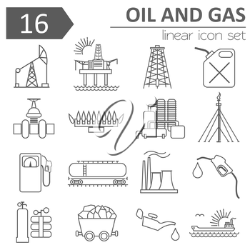 Oil and gas industry icon set. Thin line icon design. Vector illustration