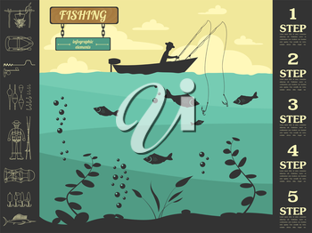 Fishing infographic elements. Set elements for creating your own infographic design. Vector illustration