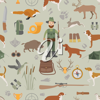 Hunting seamless pattern. Dog hunting, equipment. Flat style. Vector illustration