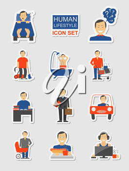 How much time we have. Lifetime elements. Icon set. Vector illustration