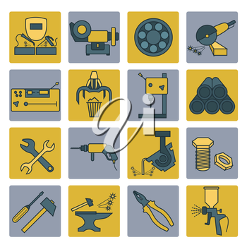 Metal working tools icon set. Thin line design. Vector illustration