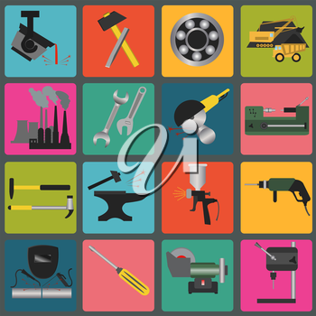 Set of metal working tools icons. Vector illustration