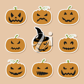 Halloween pumpkins set. Graphic template. Flat icons. Vector illustration