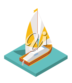 Flat 3d isometric yacht for city map travel constructor isolated on white. Build your own infographic collection. Vector illustration