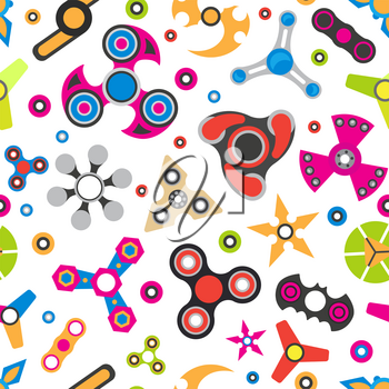 Hand spinner. Fidget toy for increased focus, stress relief. Seamless pattern. Vector illustration