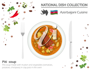 Azerbaijani Cuisine. Caucasian national dish collection. Piti soup isolated on white, infograpic. Vector illustration