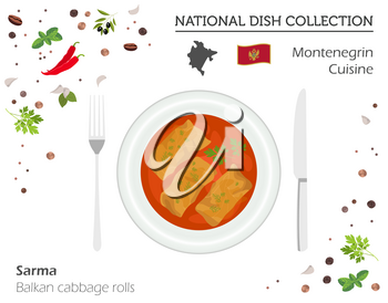 Montenegrin Cuisine. European national dish collection. Balkan cabbage rolls isolated on white, infographic. Vector illustration