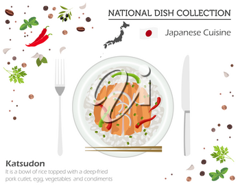 Japanese Cuisine. Asian national dish collection. Katsudon isolated on white, infograpic. Vector illustration