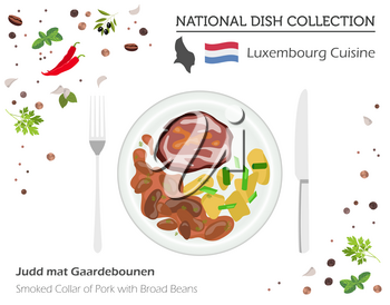 Luxembourg Cuisine. European national dish collection. Smoked collar of pork with broad of beans isolated on white, infographic. Vector illustration
