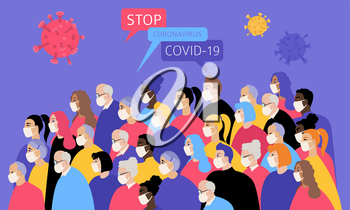 Many different ages and nationatily people in medical face mask. Quarantine, stop coronavirus epidemic design concept. Vector illustration