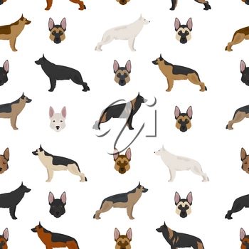German shepherd dogs in different colors. Shepherd characters seamless pattern.  Vector illustration
