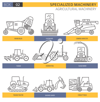 Special agricultural machinery linear vector icon set isolated on white. Illustration