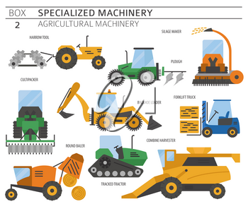 Special agricultural machinery colored vector icon set isolated on white. Illustration
