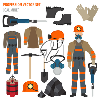Profession and occupation set. Coal mining equipment, miner tools flat design icon.Vector illustration
