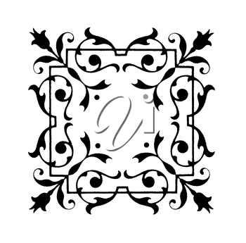 Royalty Free Clipart Image of a Floral Accent Frame