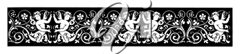 Royalty Free Clipart Image of a Header With Angels and Flowers