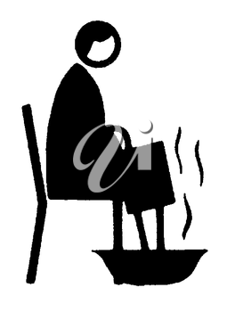 Royalty Free Clipart Image of a Man Soaking His Feet