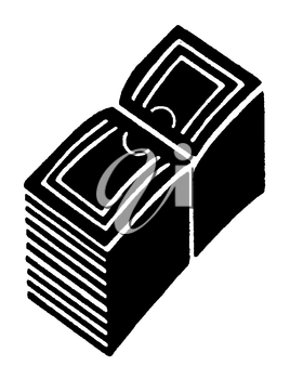 Royalty Free Clipart Image of a Stack of Bills