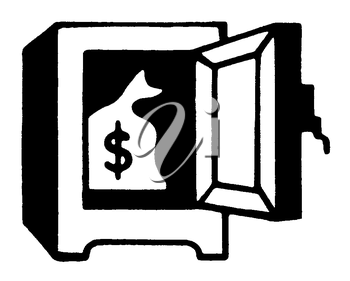 Royalty Free Clipart Image of a Safe with a Bag of Money
