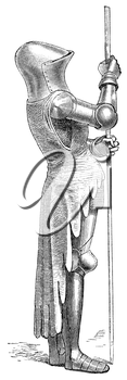 Royalty Free Clipart Image of a Knight Standing Guard