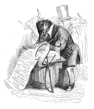 Royalty Free Clipart Image of a Boar in Clothes Signing a Paper