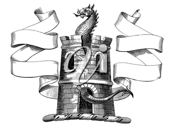 Royalty Free Clipart Image of a Dragon in a Castle