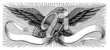 Royalty Free Clipart Image of an Eagle and Banner