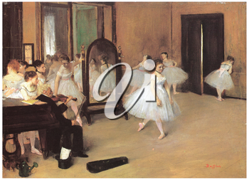 Royalty Free Clipart Image of a Dance Class Painting by Degas