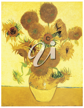 Royalty Free Clipart Image of a Van Gogh Flower Still Life