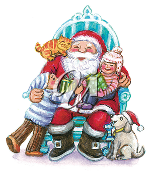 Royalty Free Clipart Image of Children Visiting Santa