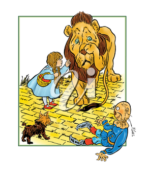 Royalty Free Clipart Image of a Lion on a Yellow Brick Road