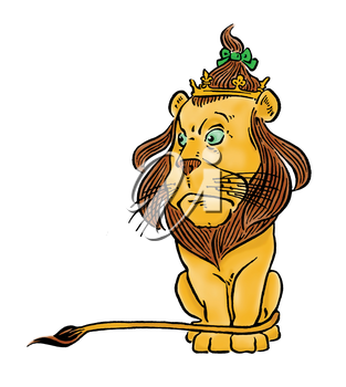 Royalty Free Clipart Image of a Lion Wearing a Crown