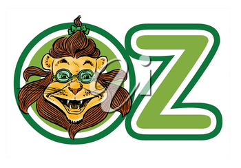 Royalty Free Clipart Image of a Lion in Oz