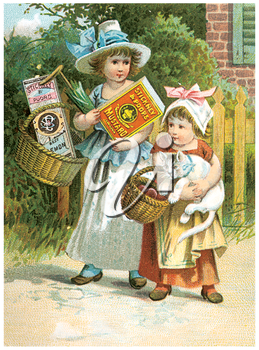 Royalty Free Clipart Image of Children With Groceries