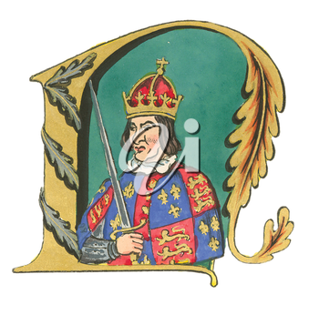 Royalty Free Clipart Image of a King and Letter N